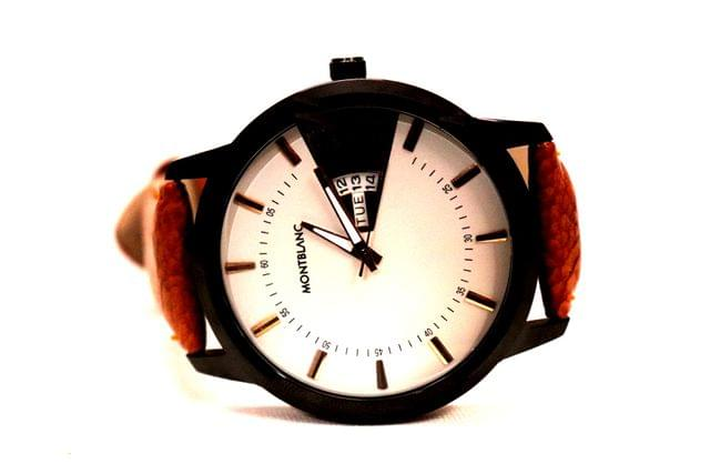 Awesome watch with Leather Strap 1 year warranty
