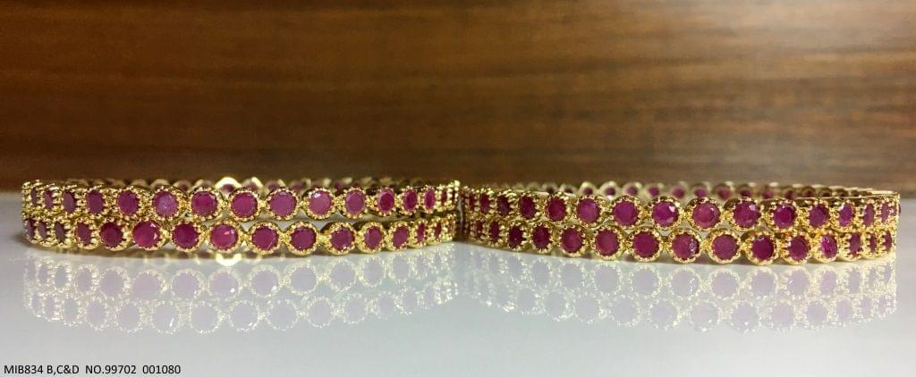 Brass+ Gold Plated+ Ad Studded banglewith an year warranty