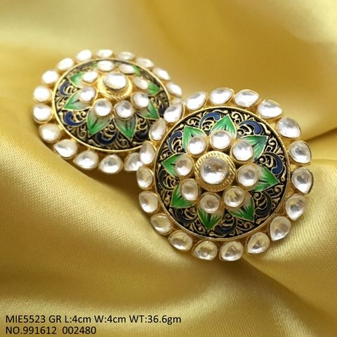 Kundan + Hand printed Studs with meenakari worked with an year warranty