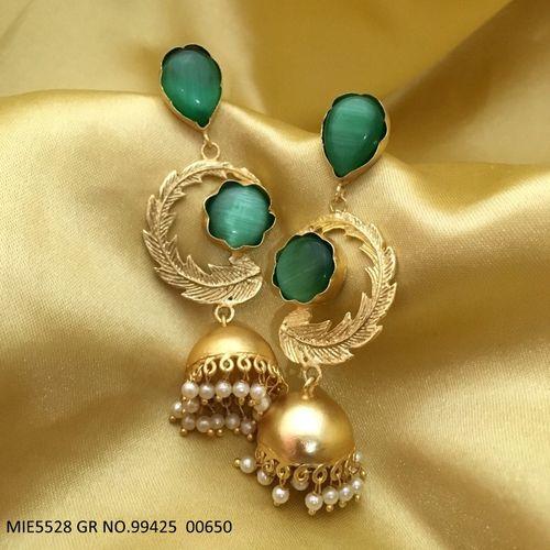 Semi precious stone+ brass dangler with an year warranty