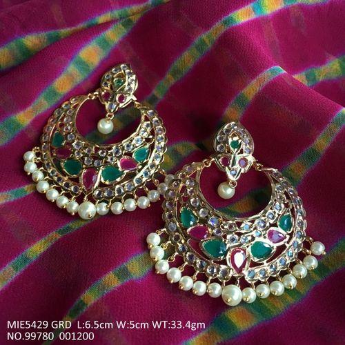 Brass+ Semi precious Stones studded earings/jhumki with an year warranty