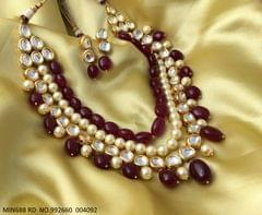 Kundan and Semi Precious Beads Necklace with an year warranty