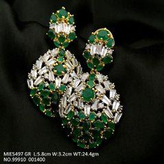 American Diamond + Semi Precious Stone earring  with an year warranty