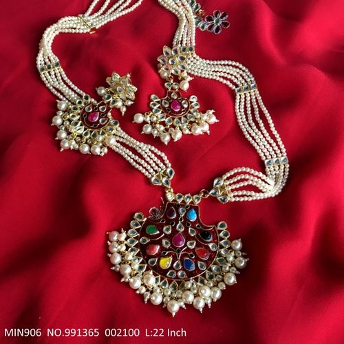 Kundan Necklace + Semi Precious Stone with fresh water pearl chain