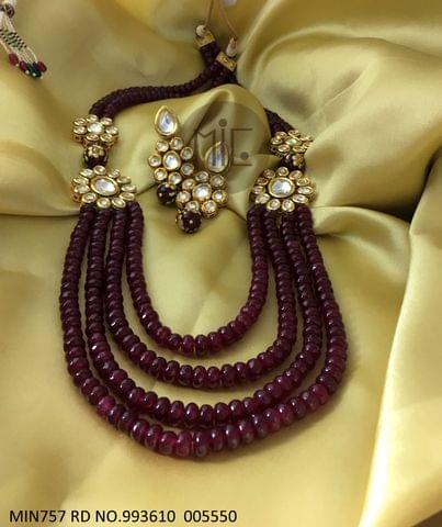 Precious Beads Necklace with kundan stones with an year warranty