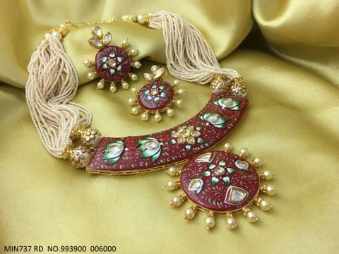High class meenakari worked Kundan Necklace with precious beads chain