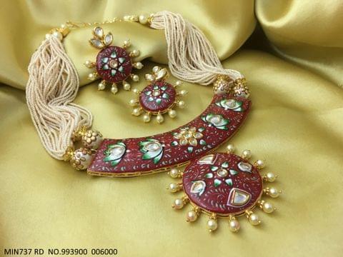 High class meenakari worked Kundan Necklace with precious beads chain