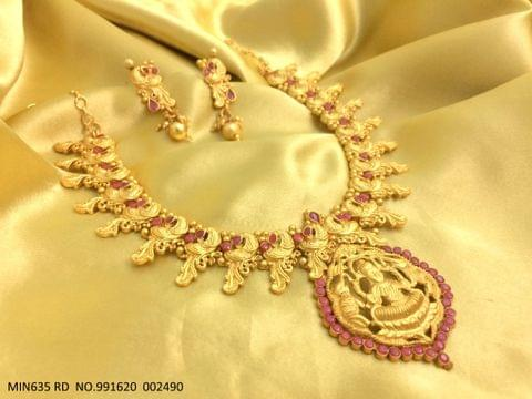 Brass + Gold plated Necklace set with an year warranty - LAXMI GODDESS ENGROSSED