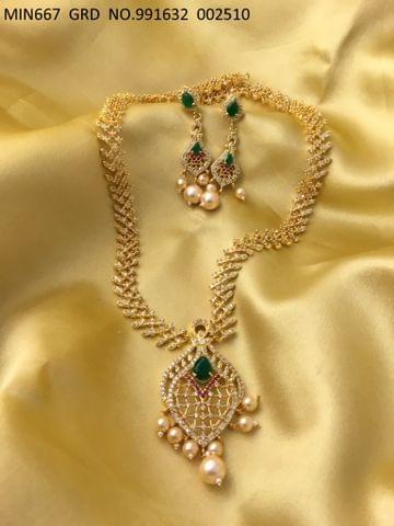 American Diamond + Semi Precious Stone Necklace