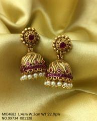 Brass+ Gold plated earring with semi precious stones - 1 year warranty