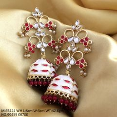 Kundan Stones+Meenakari Worked + Handprinted Dangler with an year warranty