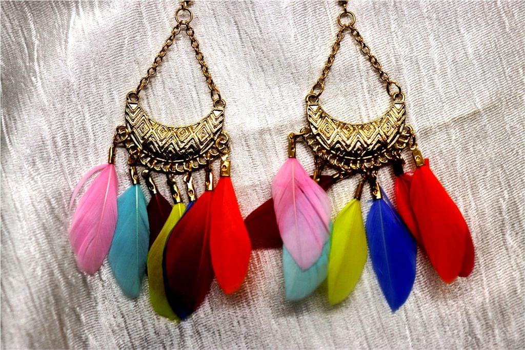 Feather Earrings - Length is 10.5 centimeters ,width is 3.8 centimeters