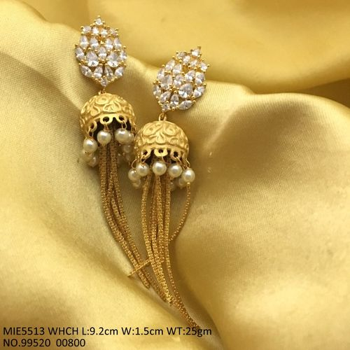 Brass+ American Diamond Earring: 9.2 centimeters in length and width is 1.5 centimeters