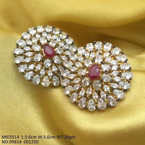 Brass+ American Diamond Earring: 3.6 centimeters in length and width is 3.6 centimeters