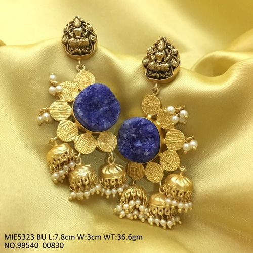 Brass+ American Diamond Earring: 38 grams and is 7.8 centimeters in length and width is 3.0centimeters