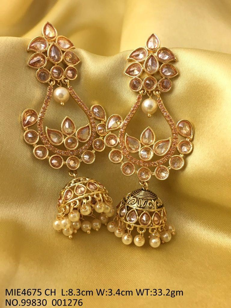 Brass+ semi precious stone Earring --- 8.3 centimeters in length and width is 3.5 centimeters