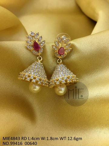 Brass+ Semi Precious Stone Stud: 4.0 centimeters in length and width is 1.8 centimeters