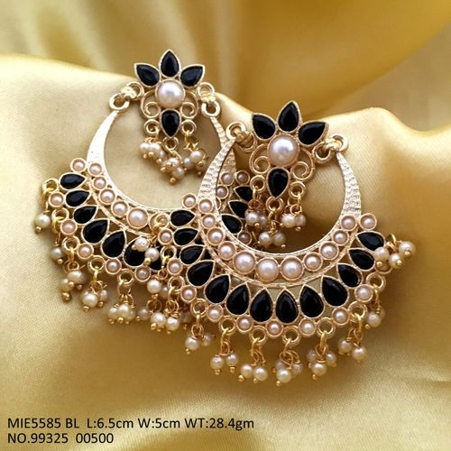 Brass+ Semi Precious Stone Jhumki with an year warranty-6.5 centimeters in length and width is 5 centimeters
