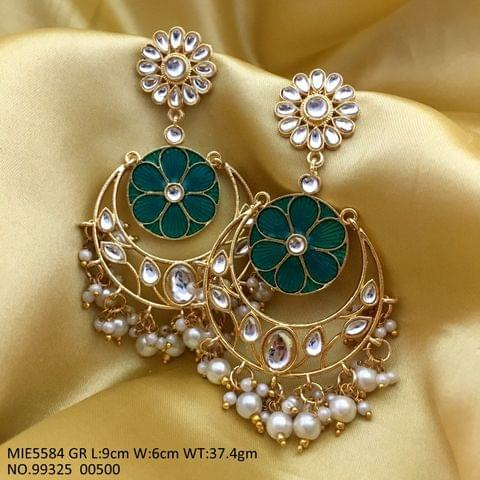 Brass+ Semi Precious Stone Jhumki with an year warranty - Length is 9.0 cm, width is 6.0 centimeter, and weight is 37.5 grams