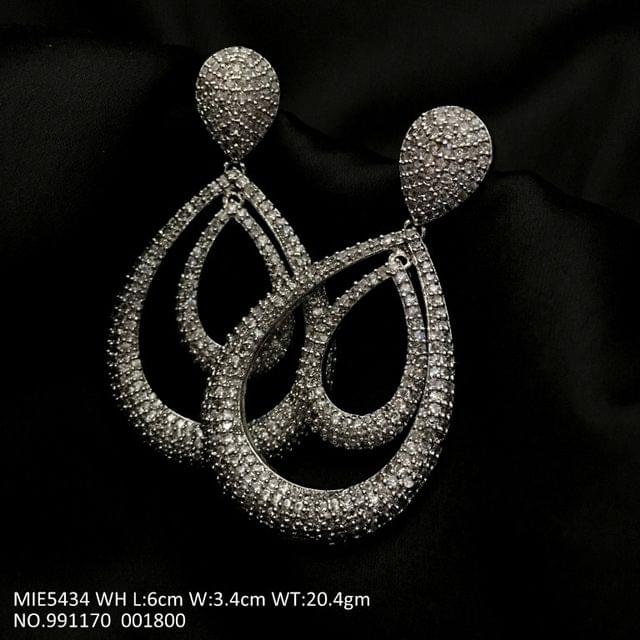 American Diamond Danglers with an year warranty-- 6.0 cms , width is 3.4 cms, and weight is 20.5 grams