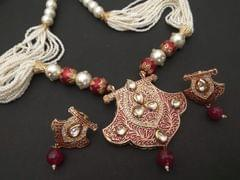High Class Necklace made of mix metals and Kundan Stones with pearl chain and semi precious beads