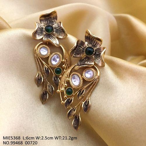 Brass +Kundan Stones + Semi Precious Stones earrings