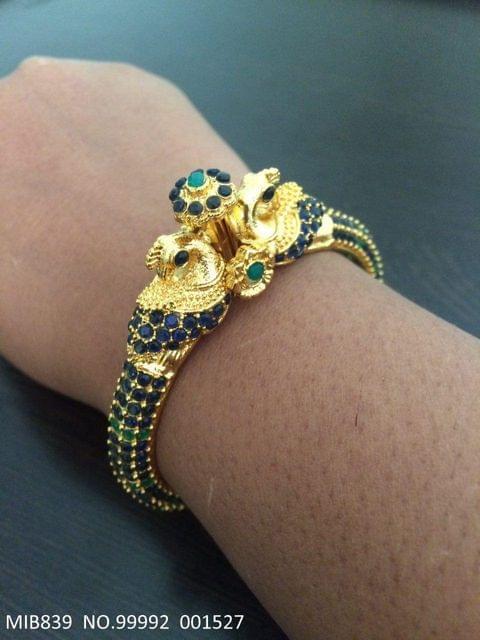 Brass+ Gold Plated Bracelet +Semi Precious Stone with an year warranty
