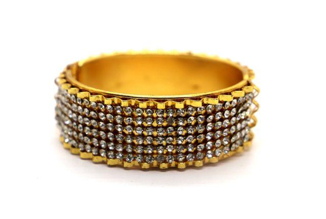 Gold plated + Brass Kada studded with semi precious stone