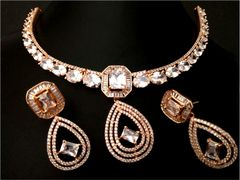 American Diamond Necklace set wit beautiful pair of American Diamond Danglers- 1 year warranty