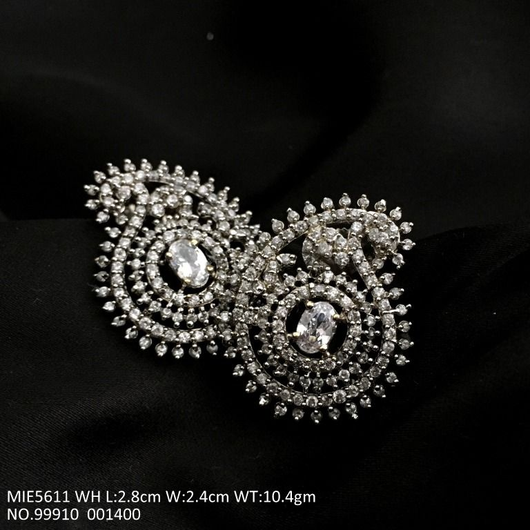 Beautiful pair of American diamond earrings with an year warranty