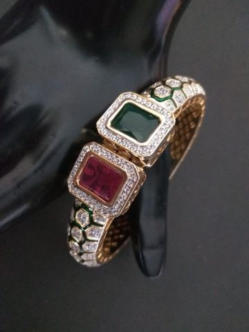 American Diamond Kada, with jadtar work