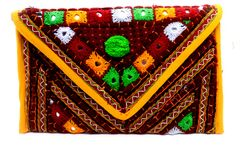 Pure hand-worked Clutch with Detachable Sling,It has got detailed embroidery , by Kutch workers