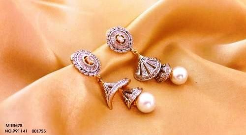 American Diamond Earring with an year warranty-Metal- Brass Plating- Golden Stone- AD & Pearl Color- white