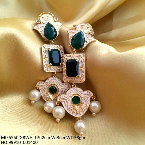 Brass + Meenakari worked earring studded with American Diamond Danglers