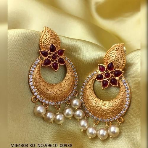 Brass + American Diamond Earrings  with an year warranty