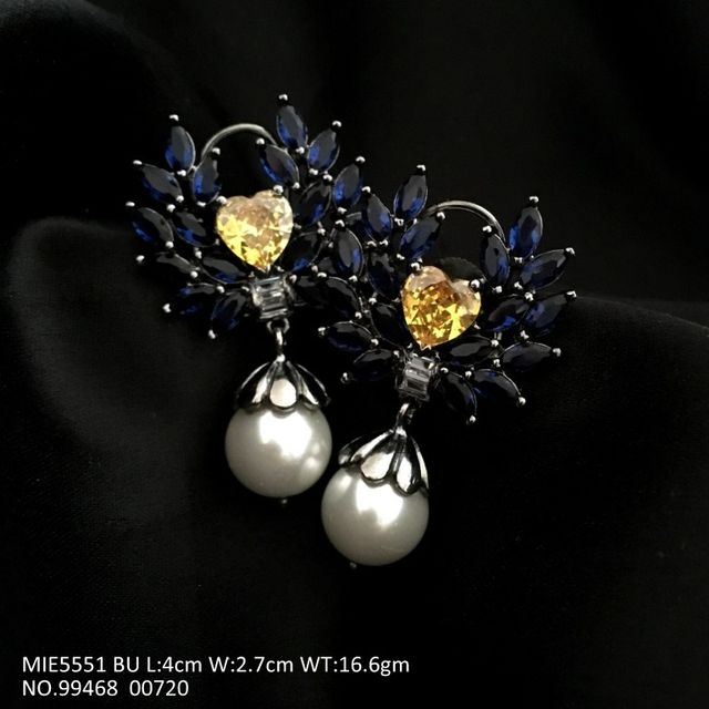 Brass+ American Diamond Earring with Fresh Water Pearl