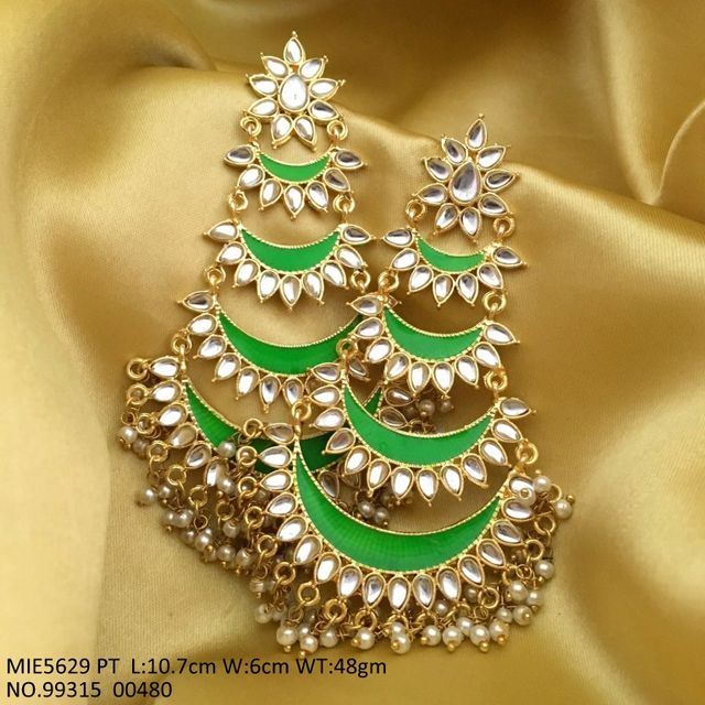 Beautiful Kundan + Hand-printed Danglers