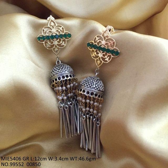German Silver Dangler studded with semi precious stone dangler