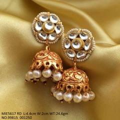Gold plated Jhumka studded with Kundan Stones
