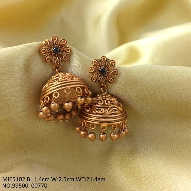 Gold plated Jhumka with an year warranty