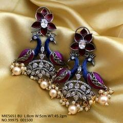 Peacock Designed Brass+ American Diamond + Hand painted Earring