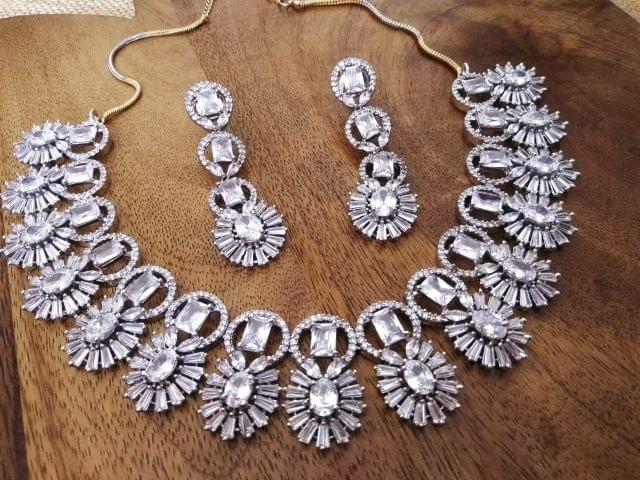 Awesome American Diamond Necklace set with an year warranty