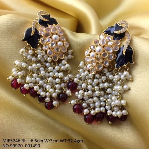 American Diamond + Beads+ Pearl earrings with hand painted. 1 year warranty