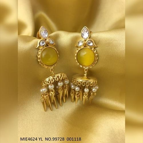Kundan Stone Studded ,gold plated dangler