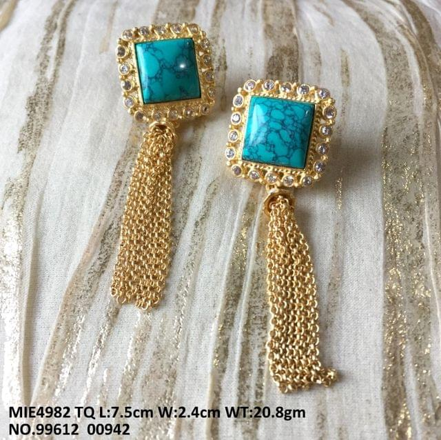 American Diamond stone studded ,gold plated earring