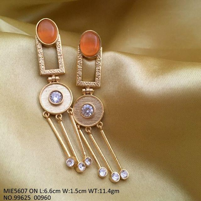 Precious Stone + American Diamond earring on base of brass with gold plating