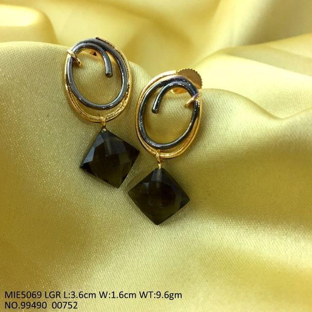 Brass Earring with semi precious Stone - Light Green