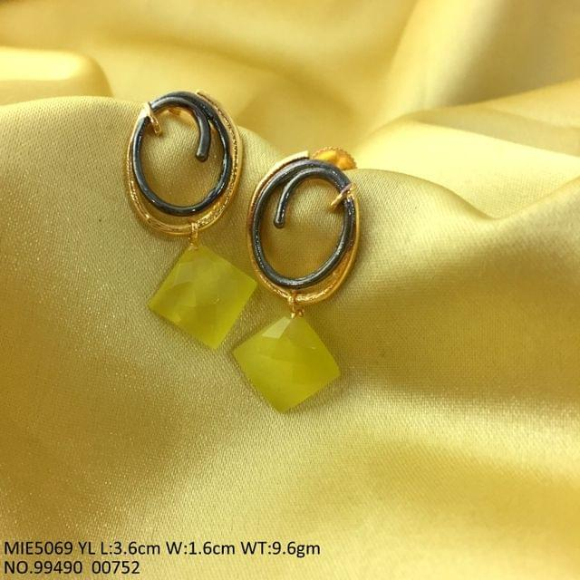 Brass Earring with semi precious Stone-Yellow Stone