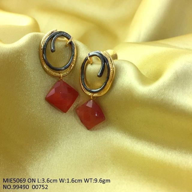 Brass Earring with semi precious Stone- Orange Stone