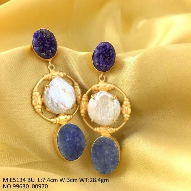 Brass + Semi precious Stone earrings dangler